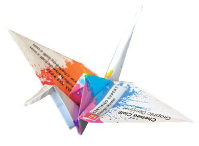 Chelsea ciolli portfolio personal brand unique origami crane business cards colourmoves